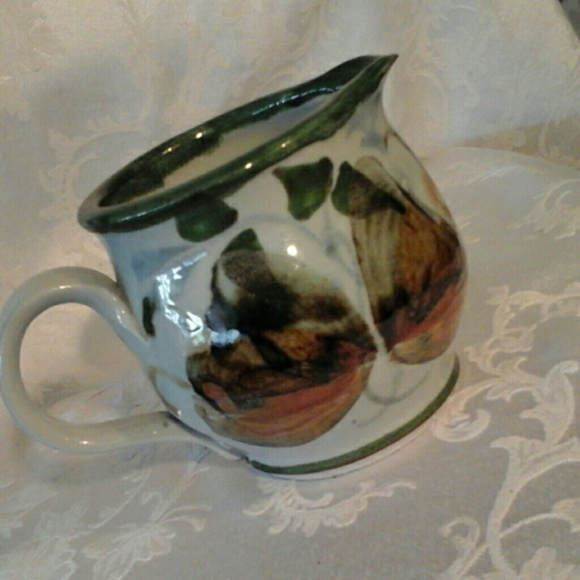 Other - Stoneware Pottery Short Pitcher Hand Painted Detai